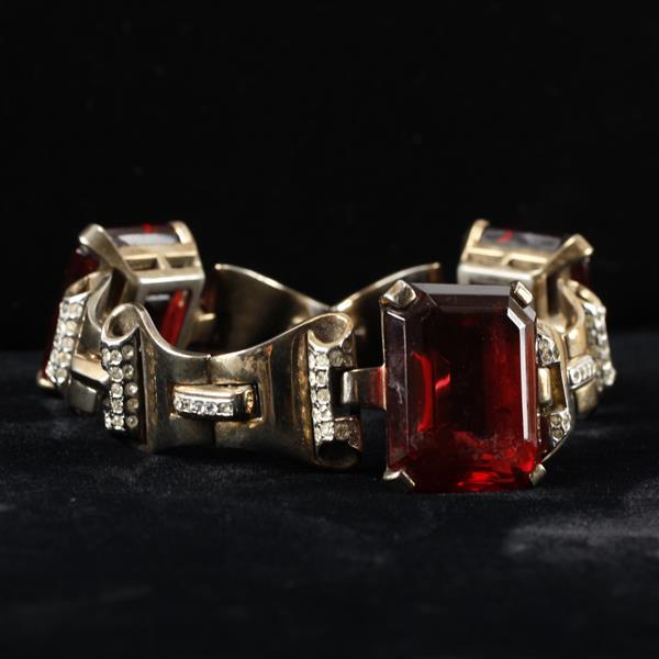 Trifari Sterling Vermeil Retro Ruby Red Jeweled Bracelet.