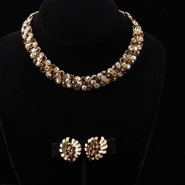 Trifari 2pc. Amber Colored Rhinestone Set: Necklace & Floral Starburst Clip Earrings