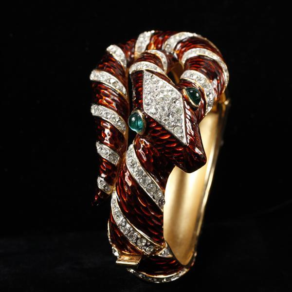 Trifari Alfred Philippe ''Garden of Eden'' chocolate enamel pave serpent / snake figural bangle bracelet, 1968.
