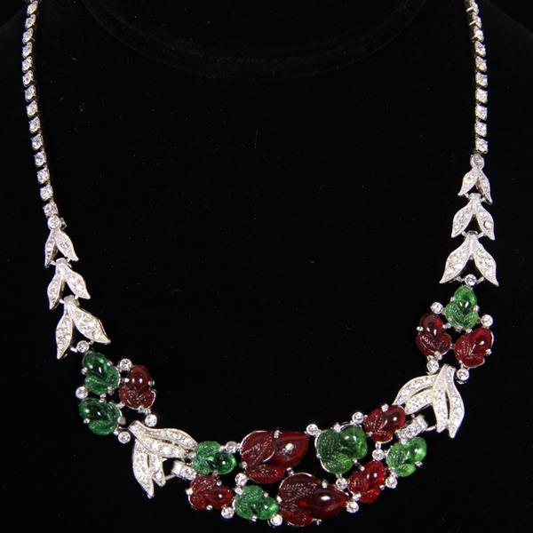 Coro Red and Green Fruit Salad & Clear crystal rhinestone Necklace.