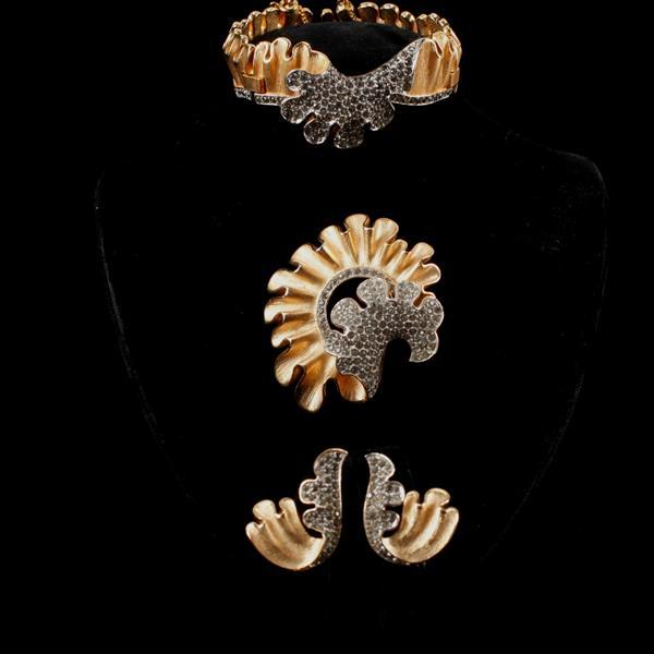 Trifari 3pc. Pave Gold Tone Wave set; Bracelet, Brooch Pin, & Clip Earrings.