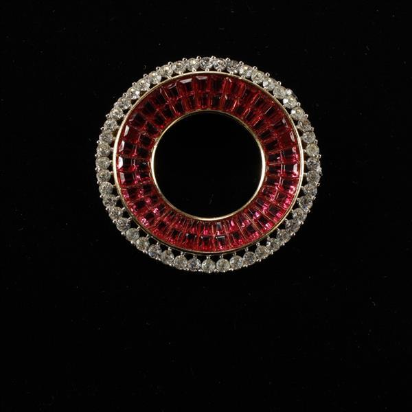 Trifari Art Deco Invisible Set Ruby Red and Rhinestone Round Brooch