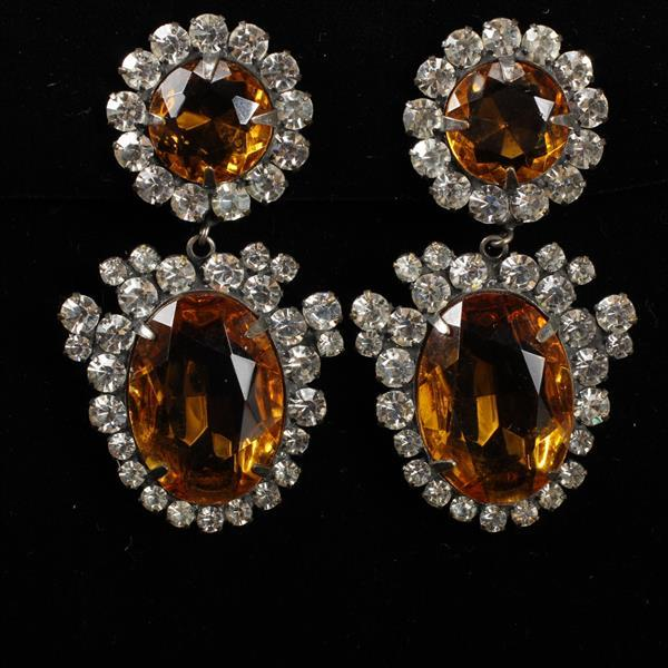 Kenneth Lane KJL Vintage Designer Chandelier Earrings with Amber Glass Jewels