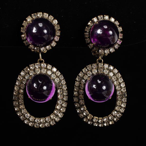 Kenneth Lane KJL Vintage Designer Purple Chandelier Earrings