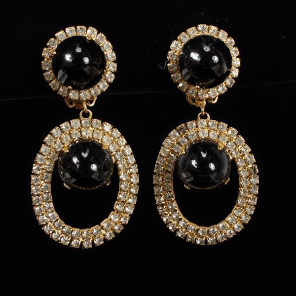 Kenneth Lane KJL Vintage Designer Black Chandelier Earrings