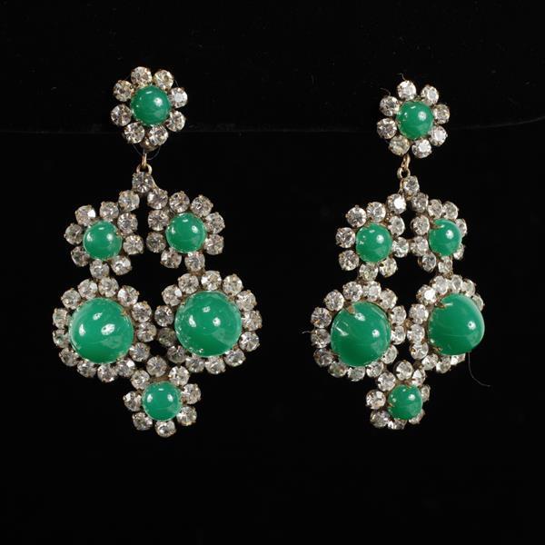 Kenneth Lane KJL Vintage Designer Green Chandelier Earrings