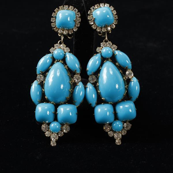 Kenneth Lane KJL Vintage Designer Blue Chandelier Earrings