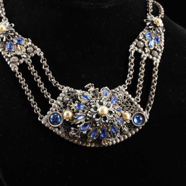 Alexander Korda Thief of Bagdad Necklace; metal filigree with faux pearls, blue rhinestones / cabochons, & light blue enamel.