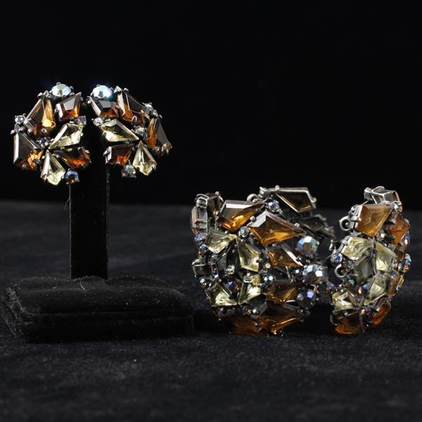 Schiaparelli 2pc. Set; Brown/Amber with Citrine yellow jewels bracelet & clip earrings.