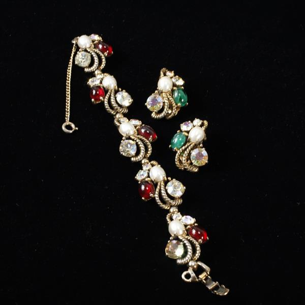 Schiaparelli 2pc. co-ordinating bracelet and earrings. Faux pearls, red & green cabochons, & rhinestones.