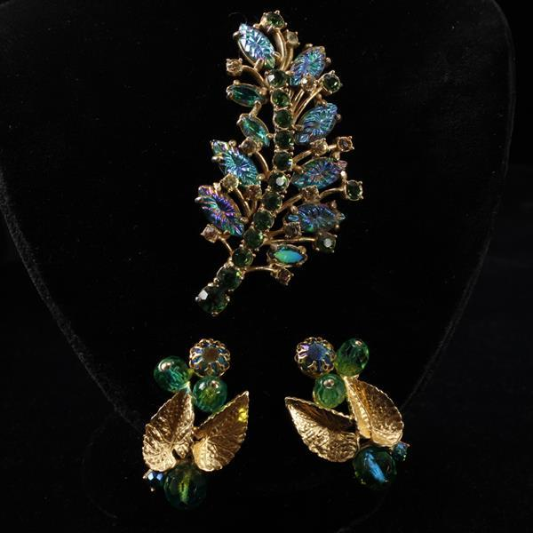 Schiaparelli 2pc. Iridescent Blue & Green Poured Glass Jeweled Rhinestone Floral Brooch Pin & Clip Earring with gilt leaves.