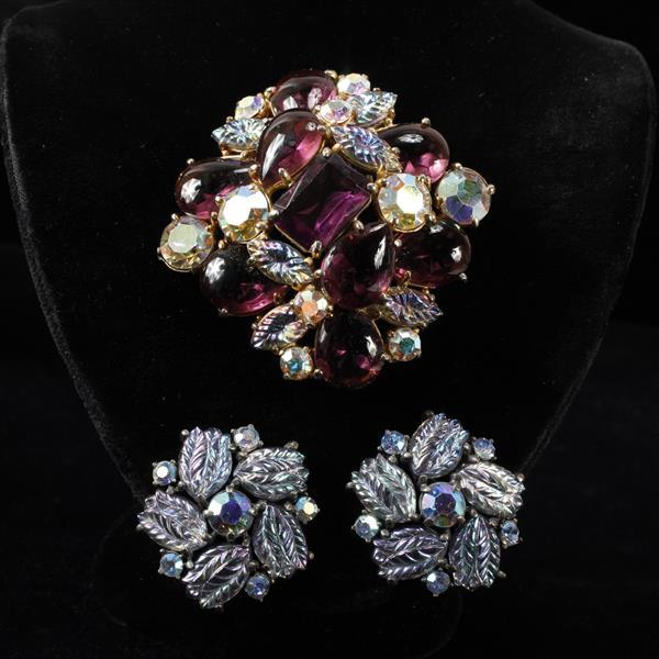 Schiaparelli 2pc. Purple Brooch Pin & Blue Clip Earrings with Iridescent Poured Glass, Rhinestones, & Cabochons.