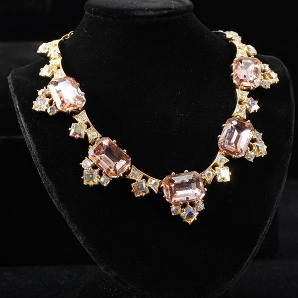 Schiaparelli Vintage Couture Rose Crystal Jeweled Designer Necklace.