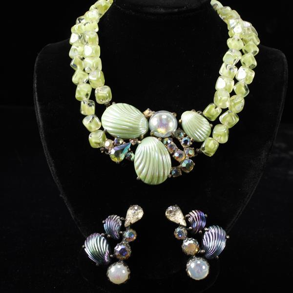 Schiaparelli 2pc. co-ordinating necklace and earrings with molded glass shell motif.