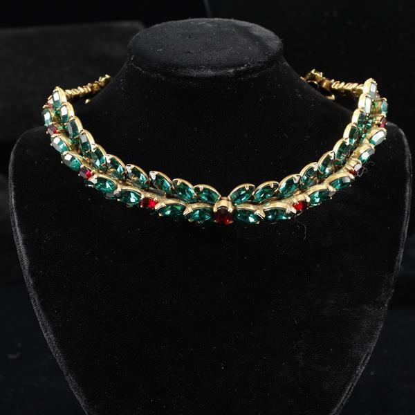 Christian Dior by Kramer 1950s Vintage Couture emerald green and ruby red diamante choker collar Christmas wreath necklace.