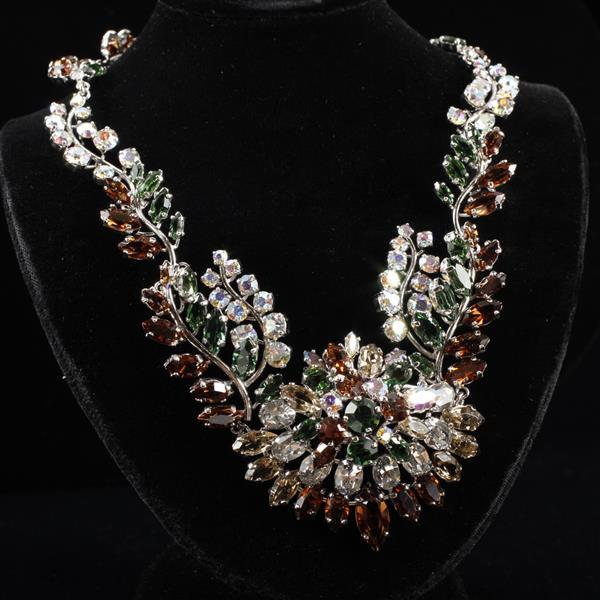 Christian Dior 1958 Vintage Haute Couture Jeweled Floral Necklace with chocolate, green, & clear iridescent rhinestones.