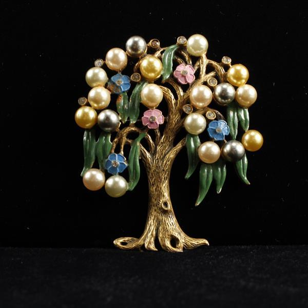 Vintage 1930s gold tone jeweled colorful weeping willow tree pin brooch with enameled flowers and faux pearls.