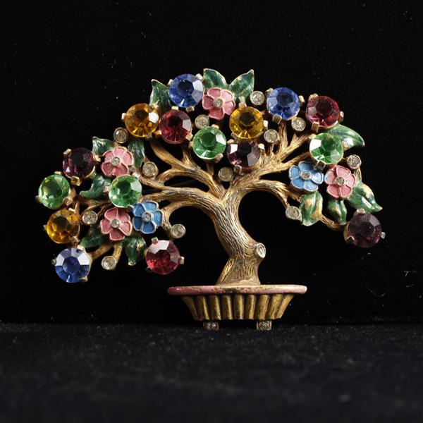 Vintage 1930s gold tone jeweled colorful bonsai tree pin brooch with enameled flowers.