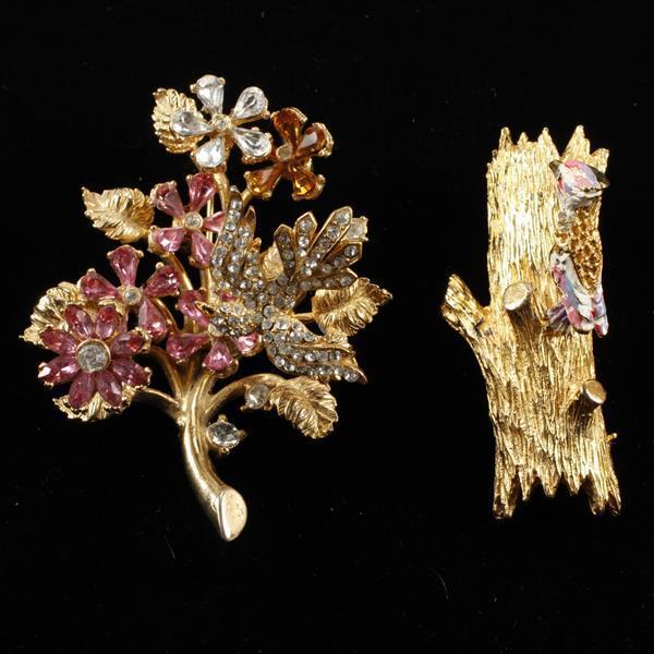 Hattie Carnegie 2pc Gold Tone Enameled Trembler Brooch Pins; woodpecker on tree and bird on flowering branch.