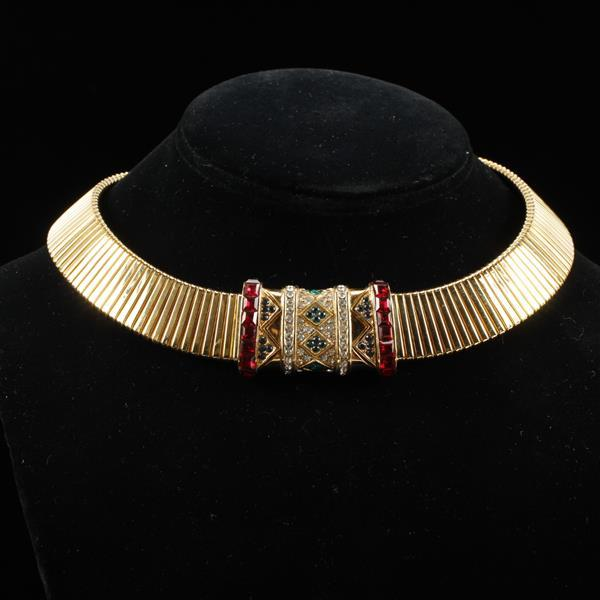 Ciner Gilt Choker Necklace with red, blue, green, & clear rhinestones.
