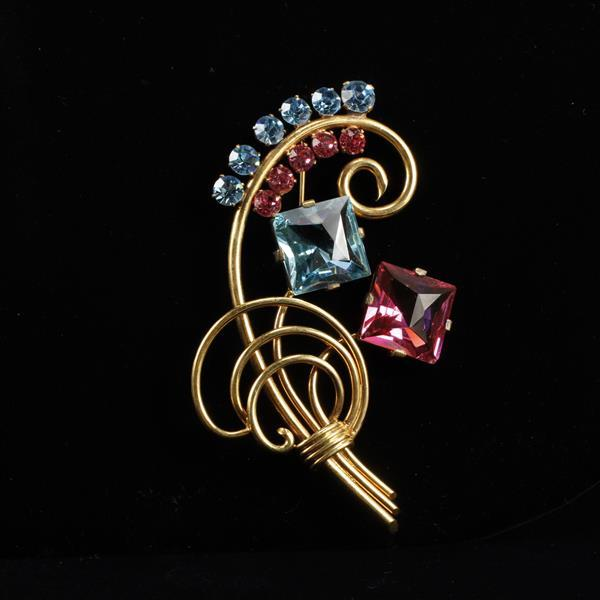 Les Glass vintage retro pink and blue jeweled floral spray pin brooch.