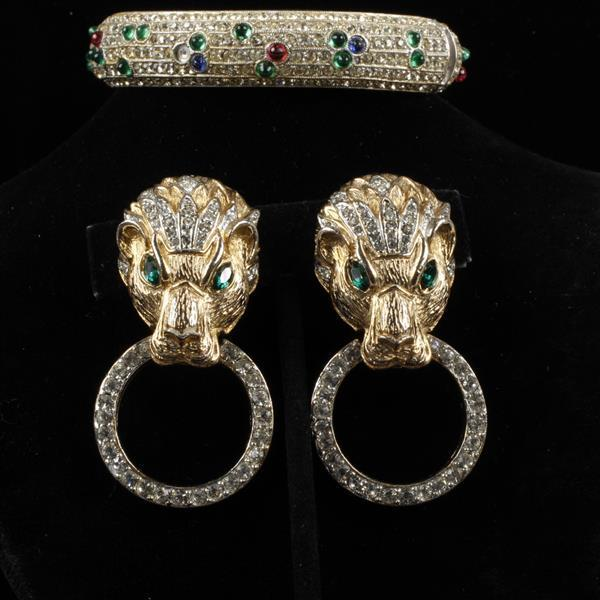 Les Bernard vintage designer 2pc. jewelry; jeweled bangle bracelet and lion head with drop ring ear clips.