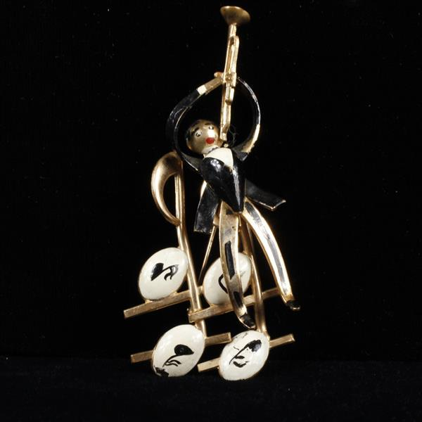 Karu Enameled Jazz Trumpet Player Brooch Pin