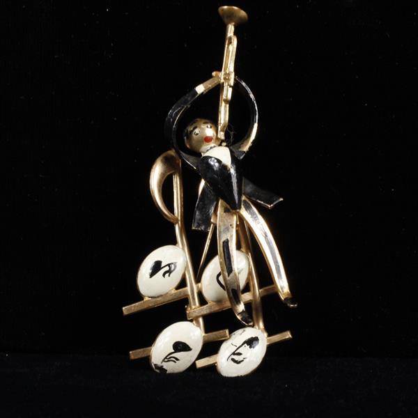 Karu Enameled Jazz Trumpet Player Brooch Pin