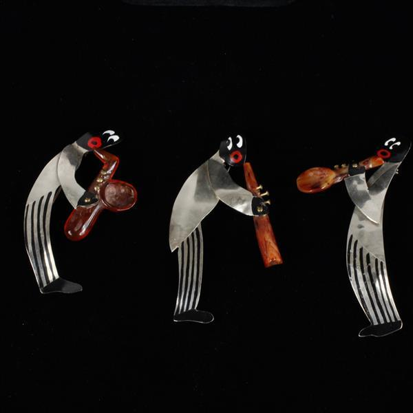 Josephine Baker 3pc. Painted Jazz Quartet (missing one) Musician Brooch Pins with Bakelite Instruments.