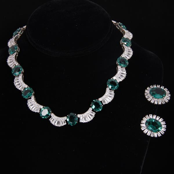 Art Deco / Retro sterling silver and emerald gripoix glass 2pc. set; necklace and earrings.