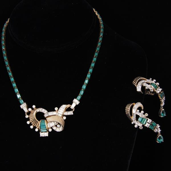 Mazer Bros. 2pc. Set with emerald green rhinestones.