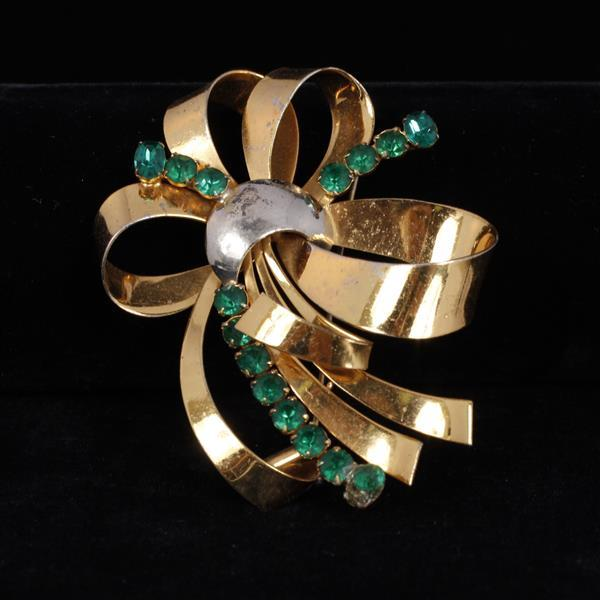 Sterling Silver Two Tone Vermeil Retro bow spray pin brooch with emerald glass stones.