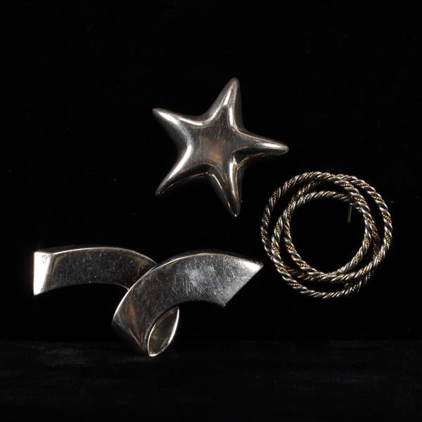 Tiffany & Co. 3pc. Sterling Silver Brooch Pins; Star, ribbon, & circle.