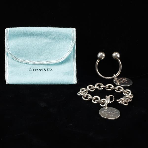 Tiffany & Co. 2pc. Sterling Silver Key Ring & Bracelet