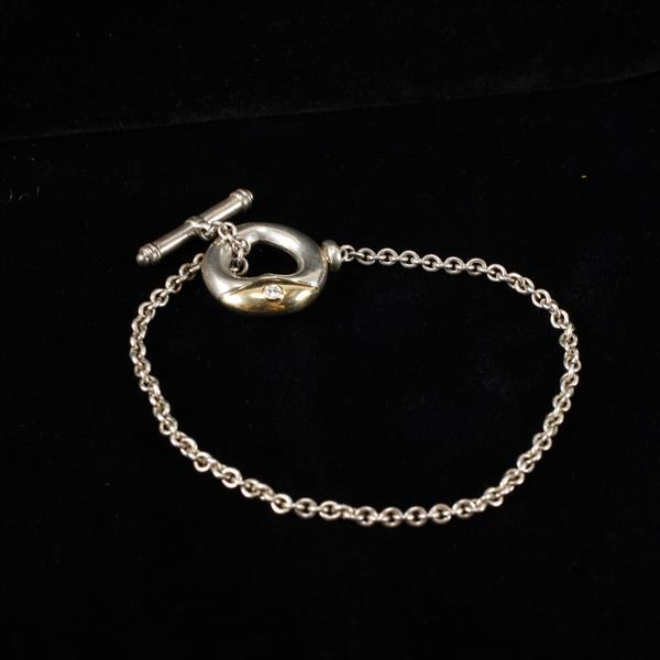 Tiffany & Co. Sterling Silver & 14k Yellow Gold Bracelet with Diamond