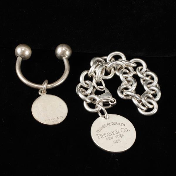 Tiffany & Co. 2pc. Sterling Silver Key Ring & Medallion ID Bracelet