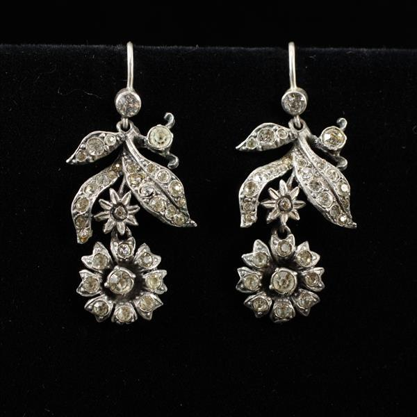 Pair Vintage Antique 830 Silver Crystal Rhinestone Flower Dangle Earrings