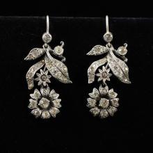 Pair Vintage Antique 830 Silver Crystal Rhinestone Flower Dangle Earrings