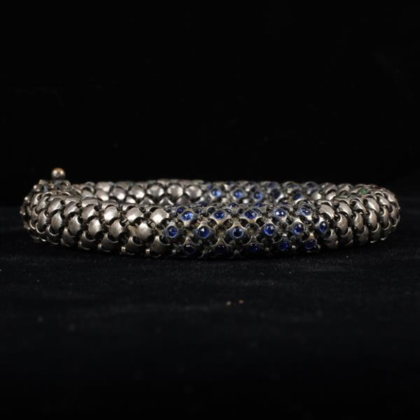 French Art Deco Thick Jeweled Silver Mesh Snake Bracelet with multi colored cabochon stations.