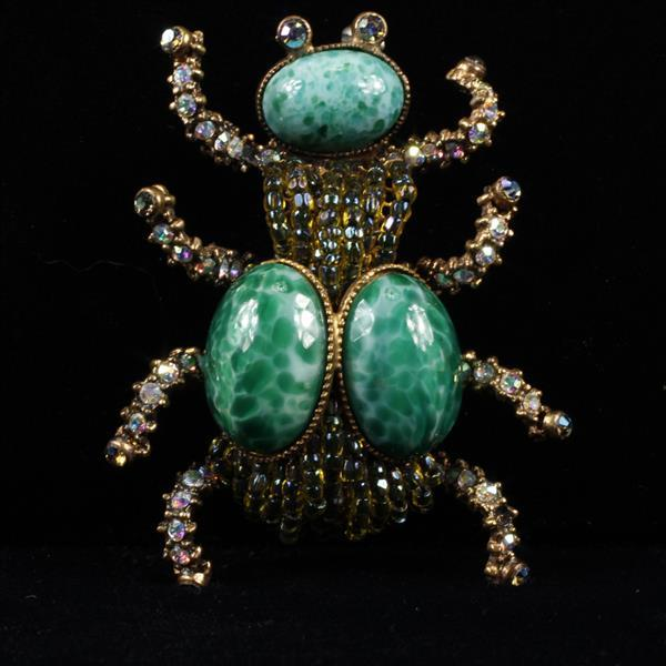 Czech Art Deco Jeweled Insect / Bug / Ant Brooch Pin with Rhinestone crystals and Bohemian Green Jade Peking Glass Cabochons on bras...