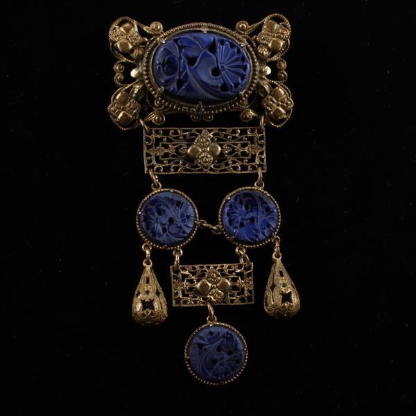 Czech Art Deco Brass Filigree Deep Blue Lapis Pierce Carved Peking Glass Medallion Drop Brooch Pin
