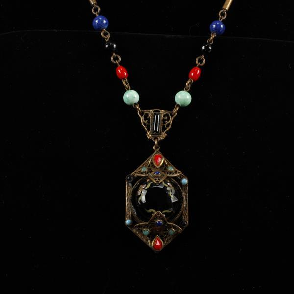 Czech Art Deco Multi Color Glass Beaded Necklace with Enameled Black Crystal Pendant.
