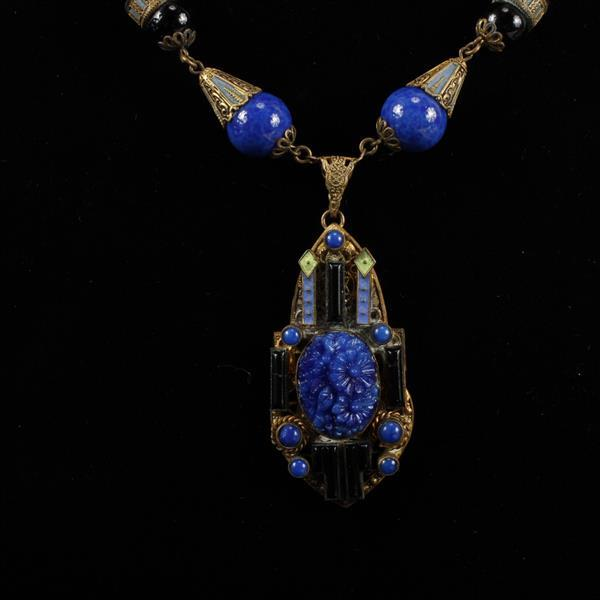 Czech Art Deco Bohemian Glass Beaded Filigree and Champleve Necklace, with lapis colored Peking glass floral pendant.