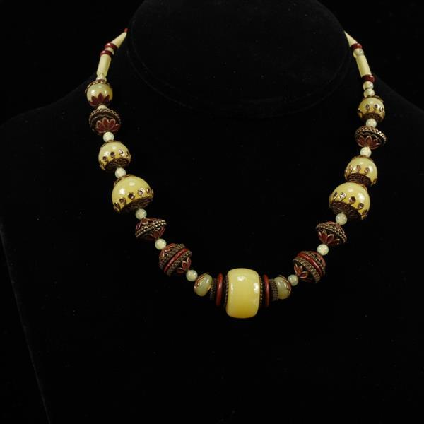 Czech Art Deco Vaseline or Peking Glass Necklace beaded with carnelian and enameled brass accents.