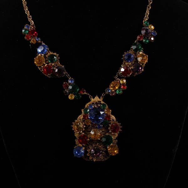 Unmarked Czech Faceted Multi Crystal Jeweled Brass Filigree Necklace