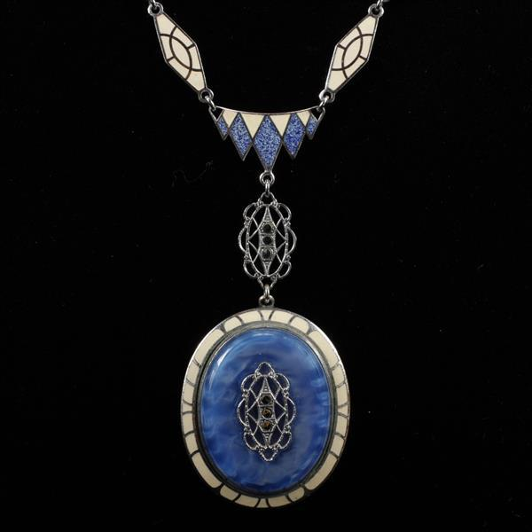 Art Deco rhodium plated Blue and Ivory Enamel Necklace with opalescent blue Peking glass pendant and marcasite accents.