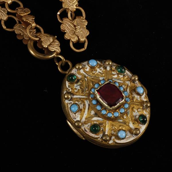 Locket Necklace with cabochons & enamel on Victorian floral chain.