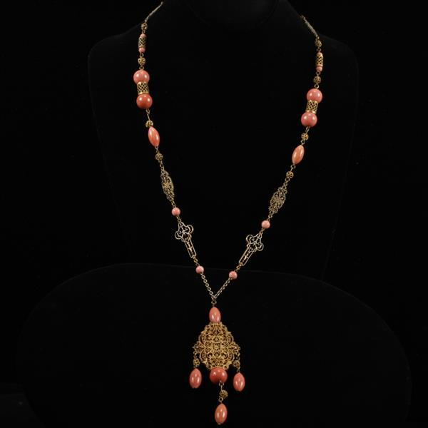 Czech Art Deco Necklace with coral Peking glass beads & gilt filigree.