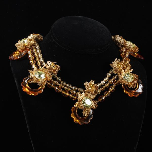 Miriam Haskell Multi-strand Amber Glass Gold Tone Necklace