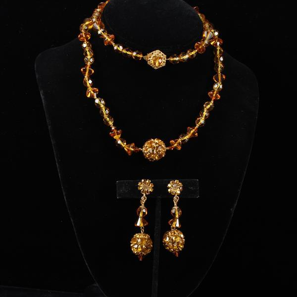 Miriam Haskell 2pc. Set; Amber beaded Necklace & Screw Back Earrings with rhinestones.